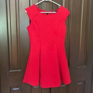 forever 21 red quilted pleated mini dress